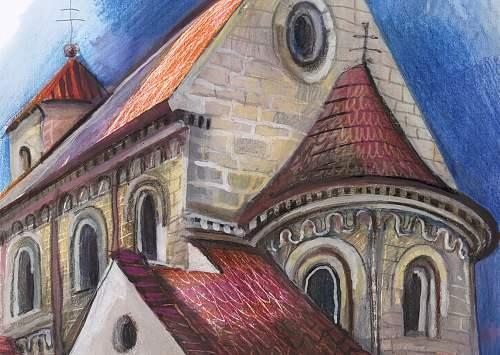 Kresba kostela Šloufová